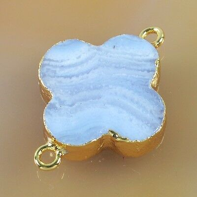 Clover Natural Blue Lace Chalcedony Connector Gold Plated B032726