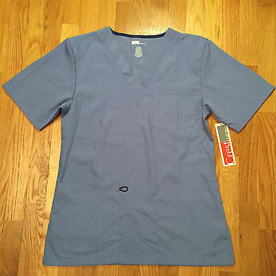 NEW Crest Blue Scrubs, Top & Pants. Size Medium.