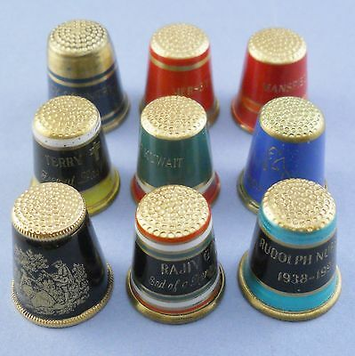 9 brass & enamel thimbles, probably Austrian, commemorative souvenir etc