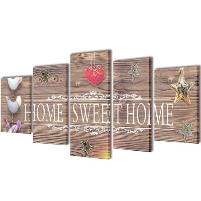 Set of 5 Sweet Home Canvas Print Framed Wall Art Decor Painting 100x50cm Bedroom