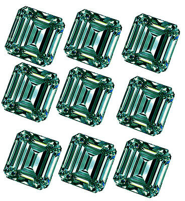5.07ct VS1-6pc-0.70-1.00ct=BLUE GREEN COLOR LOOSE EMERALD REAL MOISSANITE/ring