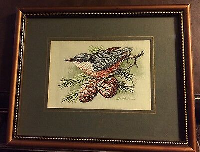 GENUINE VINTAGE WOVEN BIRD PICTURE - Pure Silk - NUTHATCH