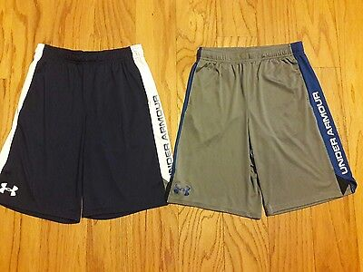 Lot of 2 EUC Boys UNDER ARMOUR Navy Blue & Gray Logo Shorts *Youth Large YLG