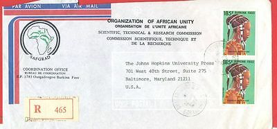 Burkina Faso AFRICAN UNITY ORGANIZATION Registered cover to USA