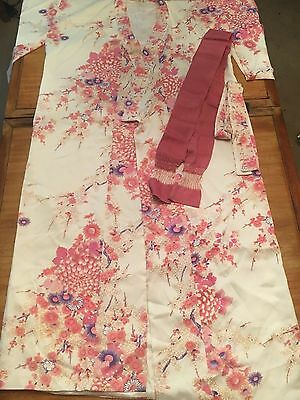 Vintage ? Authentic Japanese Pink Floral Kimono Robe Med Large - Exc new cond