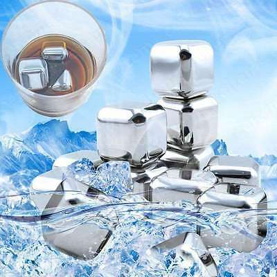 1/4pcs Stainless Steel Ice Stones Drinks Cooler Cubes Whiskey Scotch