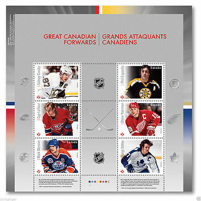 2016 NHL® Set of 6 Hockey Stamps Sheet (Sidney Crosby) Great Canadian Forwards