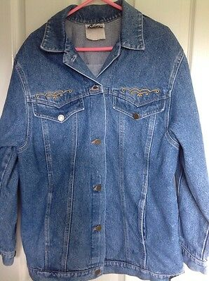 Vintage Oversized Woman's 80's Denim Jacket by Geiger Size 10