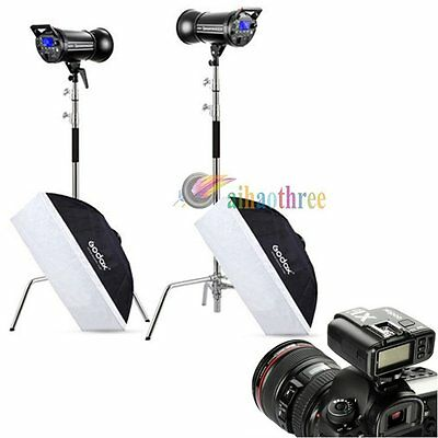2Pcs Godox QT600IIM 600W HSS 1/8000s Strobe Flash Softbox Trigger Magic Stand