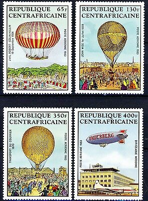Central African Republic Manned Flight 4 Air Mails MNH Scott's C262 to C265