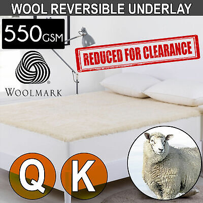 GENUINE WOOL Reversible Underlay Fully Fitted Mattress Topper Pad Cotton Reverse