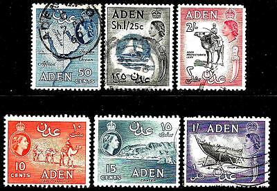British Colony   ADEN ( Now YEMEN ) 1953 - 1964 Old QE Stamps Up to 2 Shillings