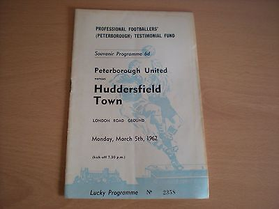 Peterborough United V Huddersfield Town Testimonial Football Programme -5/3/1962
