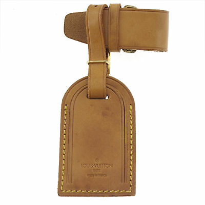 Authentic LOUIS VUITTON Luggage Tag Brown Leather #f170518d
