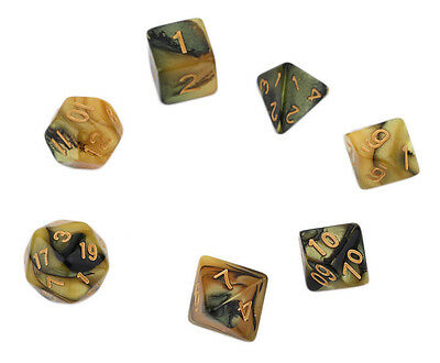 Set of 7 Black and Yellow Dice for RPG games Dungeons & Dragons etc FREE POSTAGE