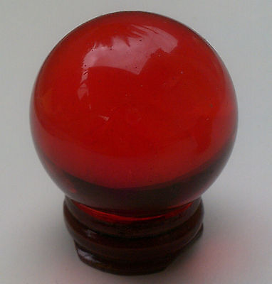 Red Crystal Ball 40mm with Wooden Stand. Sphere Fortune Teller FREE POSTAGE
