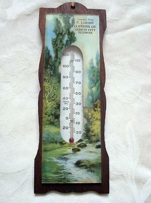 Antique Thermometer Glass Print P. Larson Clothing Co. Gibson City, Illinois