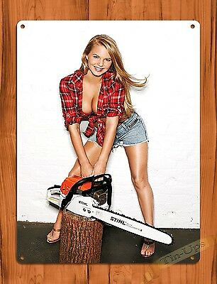"TIN-UPS TIN SIGN ""Stihl Calender Girl Chainsaw"" Vintage Pin Up Rustic Wall Decor"