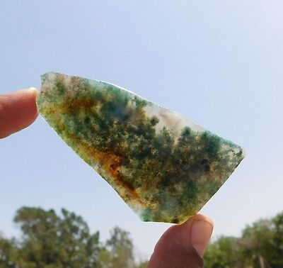 136.8 Cts 100% Natural Lovely Green Moss Agate 78X42X5 Mm Cab Slab Gemstone