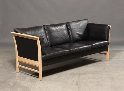 Danish three seater leather sofa by Skippers furniture