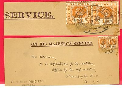British Nigeria 1d X 2 used on OHMS Cover to USA 1936