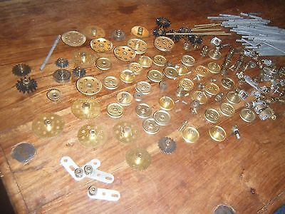 Vintage Meccano Large Quantity Of Various Brass Gears, Pulleys & Small Parts
