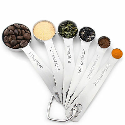 18/8 Stainless Steel Measuring Spoons Set of 6 for Measuring Dry and Liquid New