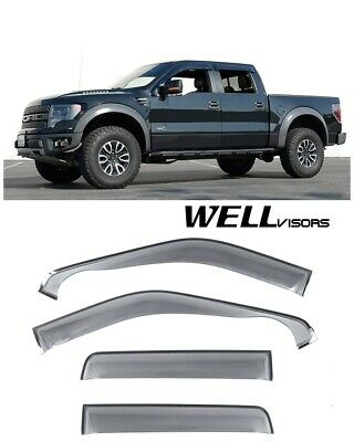 WELLVISORS Side Window Visors Off Road Series For Ford F-150 Crew Cab 2009-2014