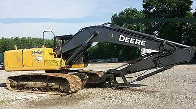 2011 John Deere 200D LC Excavator Cab Fire Damage with Plumbing for Attachment