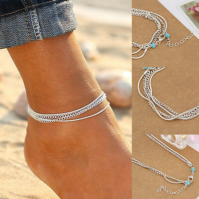 Summer Silver PChain Anklet Ankle Bracelet Barefoot Sandal Beach Foot Jewelry