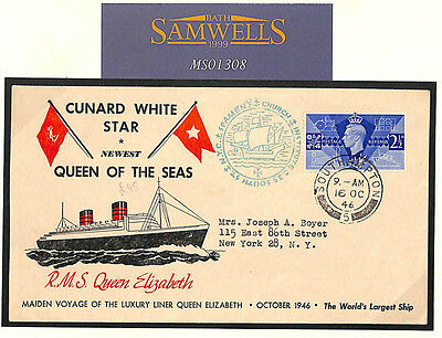 MS1308 1946 GB MARITIME Hants Southampton CUNARD *Queen Elizabeth* Cover USA