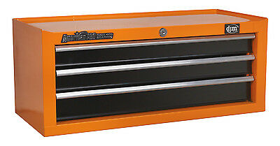 DJM Direct Orange Add On Middle Tool Box Storage Chest 3 Drawer Ball Bearing