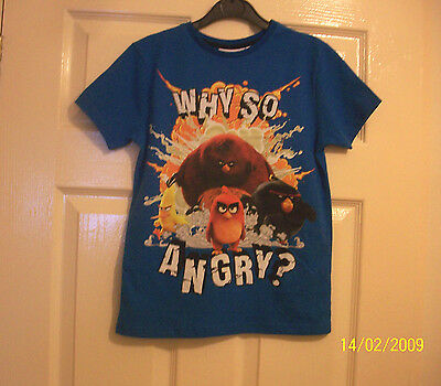 Boys Lovely Angry Birds Motif T- Shirt Age 7-8  Years Bnwt
