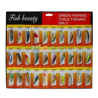 Lot30 Kinds of Fishing Lures Crankbait Minnow Poper Bass Baits Hooks Tackle