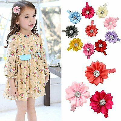 10pcs Toddlers Baby Girls Kids Teens Hair Bows Alligator Clips Flower Barrettes