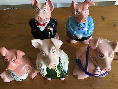 NATWEST WADE Vintage Complete Set of Five Pigs Money Piggy Banks