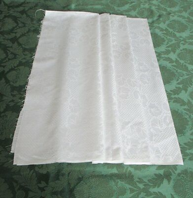 "VINTAGE LINEN DAMASK FABRIC - UNUSED - 50"" WIDE x 78"" LONG"