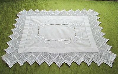 "Antique Tray Cloth-Embroidery & Hand Crochet Trim-21"" X 27"""