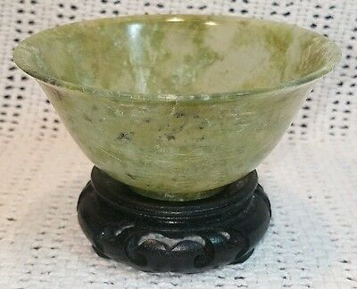 Rare Qing Antique 19th Century Hand Carved Green Spinach Jade Jadite Bowl AS IS