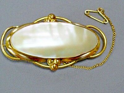 Fine C19Th Antique Victorian Art Nouveau Pinchbeck/mother Of Pearl Brooch/pin