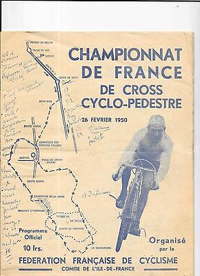 Cycle Cross French Championship Programme 26/2/1950