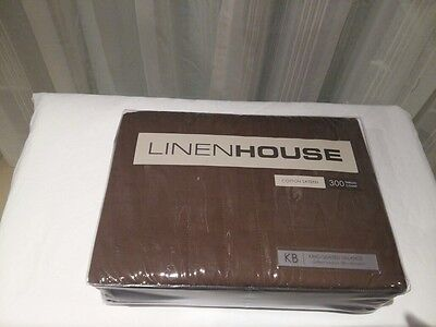 Brand New Linen House King Quilted Valance 300 TC Chocolate Brown Cotton Sateen