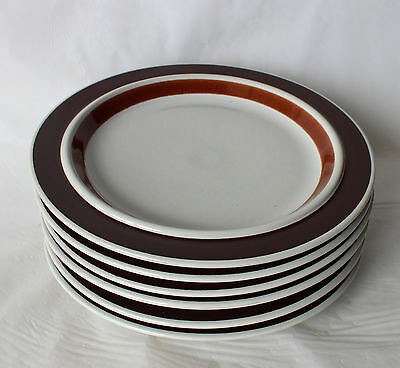Vintage ARABIA Finland ROSMARIN Set 6 Dinner Plates Brown Retro 26cm