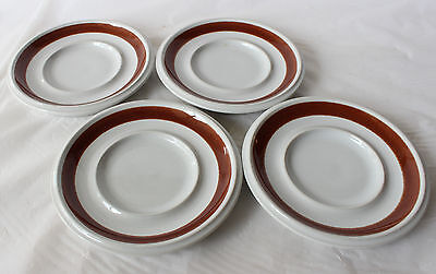 Vintage ARABIA Finland ROSMARIN 4 Saucers Brown Retro