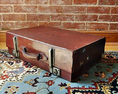 Vintage Leather Expanding 'The Rigid' Everwear British Suitcase Case Vulcanised
