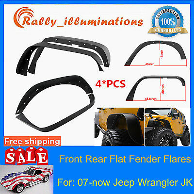 4pcs Steel Front Rear Flat Fender Flares For 07-17 Jeep Wrangler JK Unlimited RY