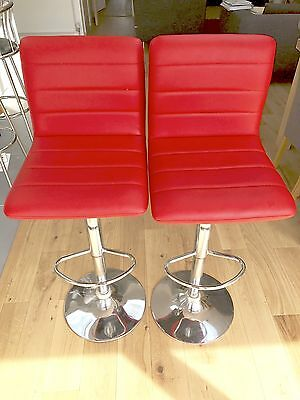 2 x Red Horizon Barstools Faux Leather Kitchen Breakfast Bar Chair Gas Lift