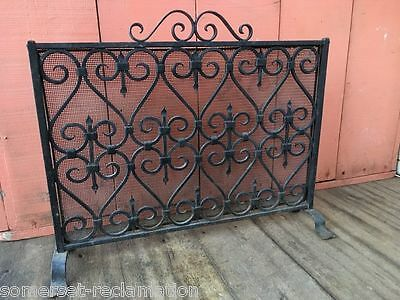 Old Salvaged Black Wrought Iron Fine Mesh Fire Spit Guard