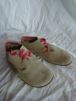 Camper Leather Slip On Shoes Flats -  Beige & Red Elastic Laces 41