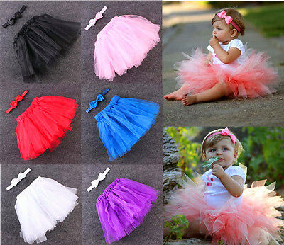 Baby Tutu Skirt and Bow Headband Newborn Photo Props Shoot UK Seller 3-12 Months